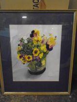 P.R Bonnett 'Pansies' watercolour