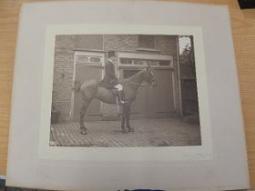 Elliot and Fry mounted photograph signed of man on hackney horse