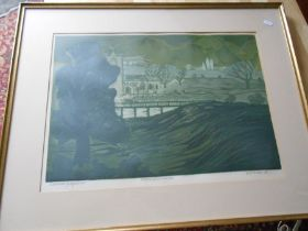 B C W Dight ? 68 Norfolk Landscape 3 Progressive Linocut