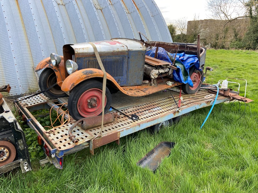1930 Peugeot Torpedo type 201, in need of restoration currently on a trailer with all the parts