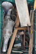 box of vintage tools including wolf grinder