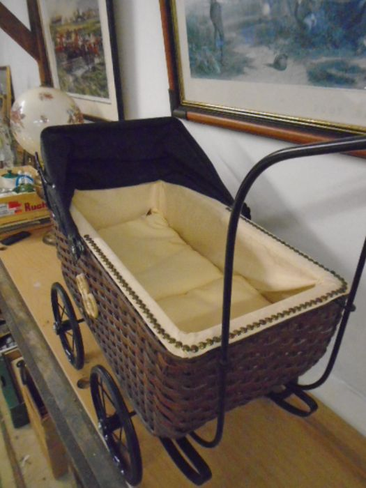 Antique style wicker dolls pram (German) NOT safe for children's use, has been used to display - Image 2 of 3