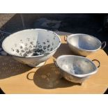 White enamelled Colander 48 cm wide 24 tall and 2 others