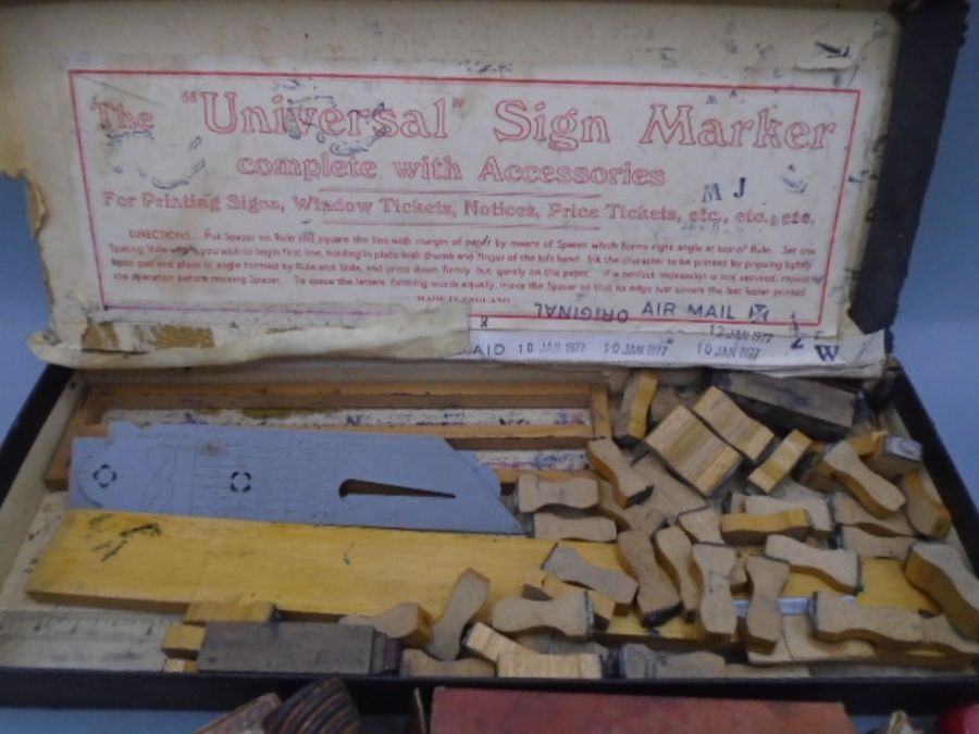 vintage Hand printing items and lino cutting tool - Image 3 of 6