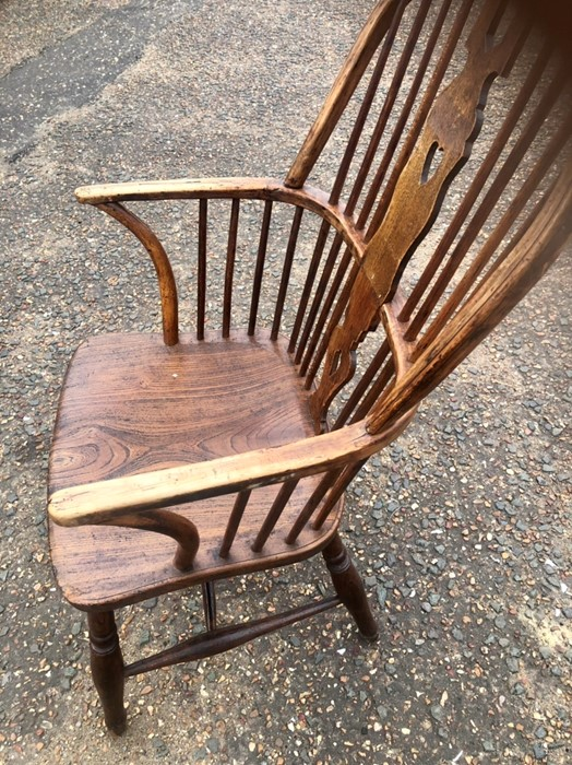 Antique Elm Stickback Windsor Chair 38 inches tall including back 16 inches seat height 19 1/2 - Image 4 of 5
