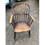 Antique Elm Stickback Windsor Chair 36 inches tall including back 17 inches seat height 19 1/2