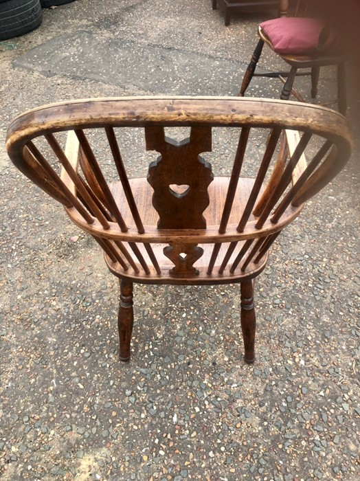 Antique Elm Stickback Windsor Chair 38 inches tall including back 16 inches seat height 19 1/2 - Image 3 of 5