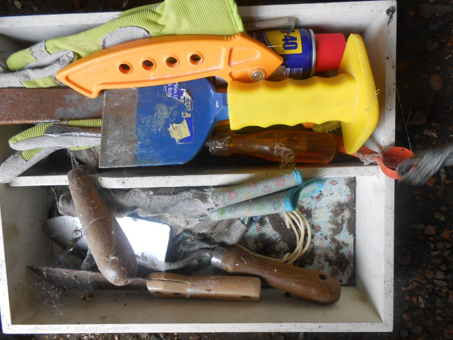 Half Stillage of Tools etc etc there are some tins of paint included look at the photos buyer clears - Image 13 of 25