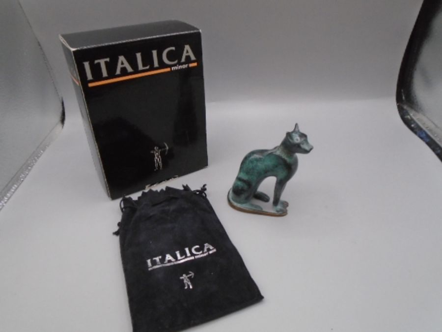 'Italica' green bronzed cat in original bag and box with leaflet 10cm tall - Image 2 of 4