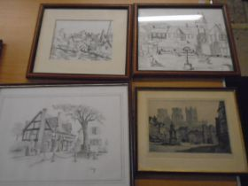 Ernest Hampshire etching of Wells cathederal, C. Varley sketch of Kings Head pub and 2 other