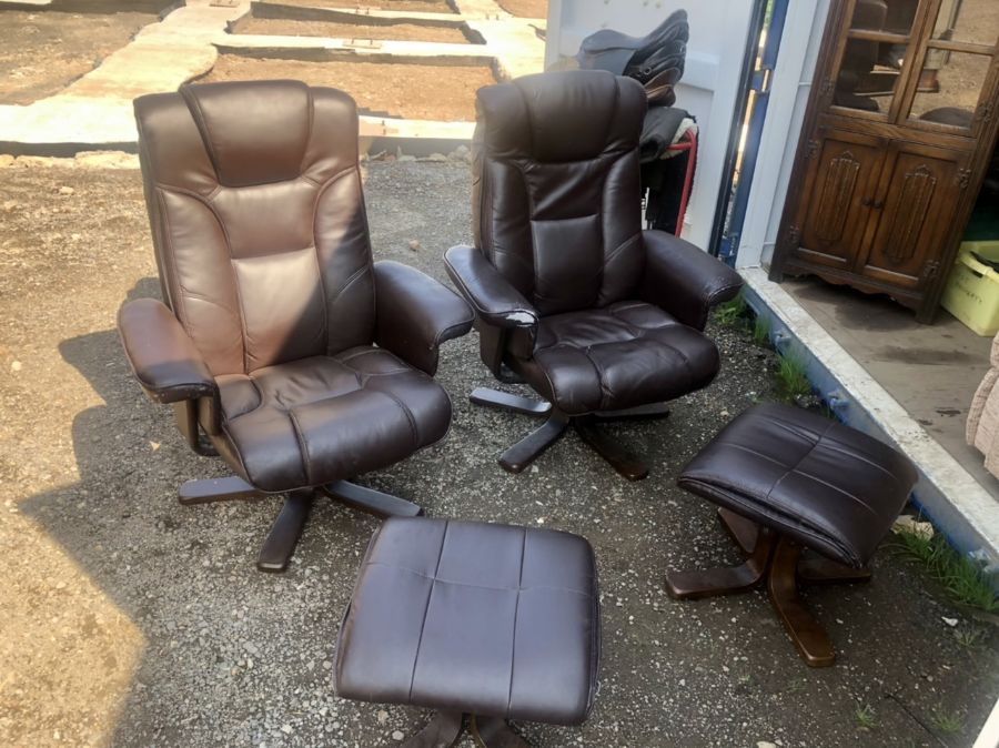 Two Swivel Recliners and matching footstools ( one chair A/F )