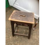 Antique Oak framed Stool with pine top 17 x 12 inches 24 1/2 tall