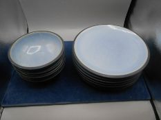 8 Denby plates 27 cm and 4 bowls 18 cm ( one bowl chipped )