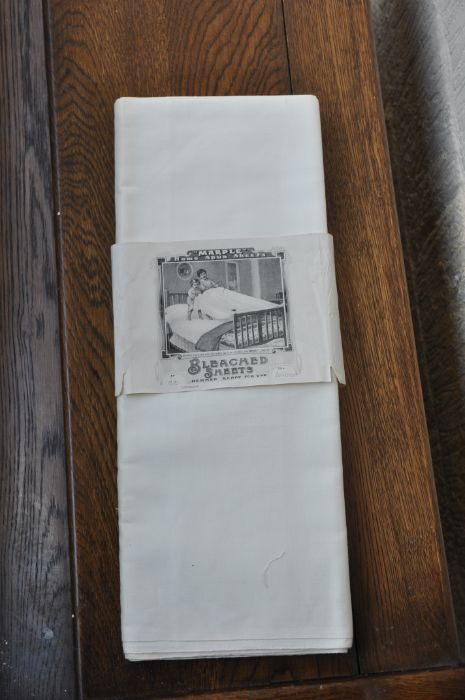 Marple antique home spun sheet, Bleached sheets hemmed ready for use (unused in original packet)
