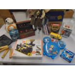 Box of mixed toys including Star Wars, Harry Potter, Mecano etc