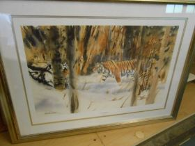 Lionel Jeans Snow Emperor Print 15 x 22 inches Michael Demain Tigers in the Mist 25 x 17 inches