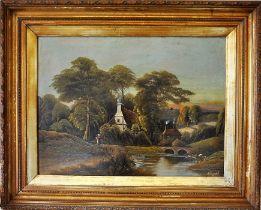 A large gilt framed oil on canvas rural scene, W Haines, (English 19th century), Frame 81 x 85 cm,