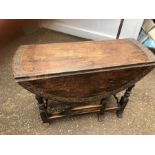 Antique Oak Carved Gateleg Table with drawer. 40 x 14 inches closed 40 x 49 inches open 27 tall