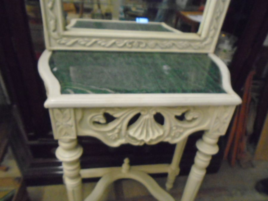 FRENCH SYLE DRESSING TABLE WITH MIRROR AND MARBLE TOP - Image 3 of 4