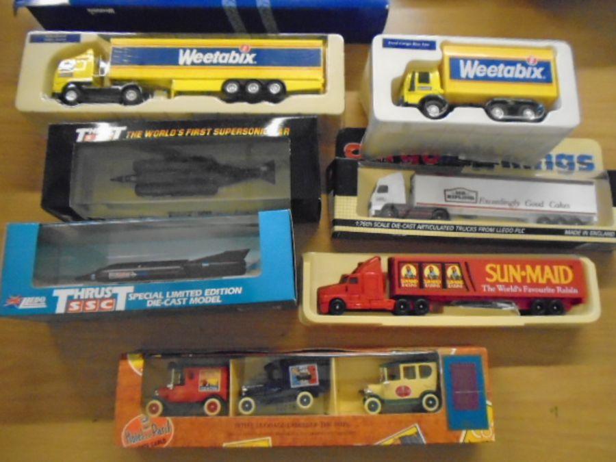 Corgi ,Lledo models of die cast cars and planes and weetabix lorries