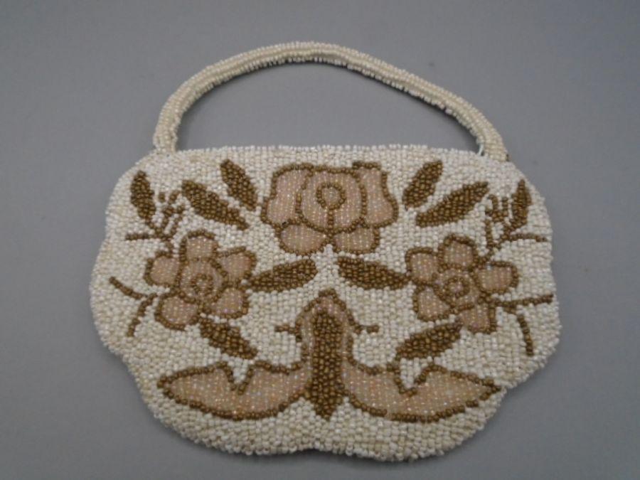 Laura Ashley vintage beaded bag, beaded both sides, spare beads inside 18x12 cm