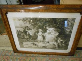 Victorian Framed Print Little Lady Bountiful in Walnut Veneered Frame ( frame is 30 x 38 inches )