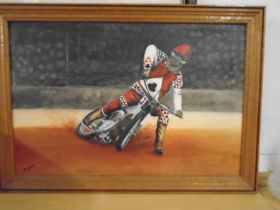Oil on board painting of a speedway rider, signed