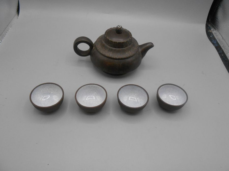 Japanese Ceramic Teapot 3 inches tall and 4 Saki cups