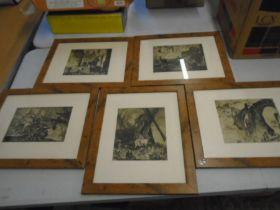 "set of 5 etchings 16x13"""