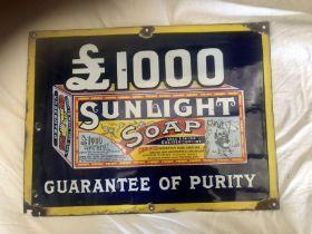 Antique Enamelled Sunlight Soap Shop Sign 38 x 51 cm