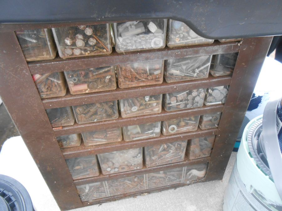 Half Stillage of Tools etc etc there are some tins of paint included look at the photos buyer clears - Image 9 of 25