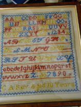 Vintage Sampler C A Roy aged 10 years 11 x 12 inches