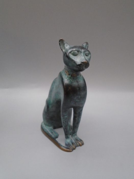 'Italica' green bronzed cat in original bag and box with leaflet 10cm tall - Image 4 of 4