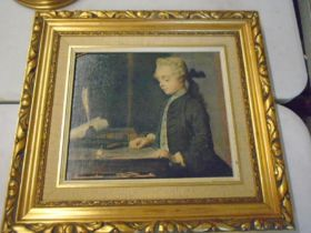 Oleograph on canvas of a gentleman in gilt frame