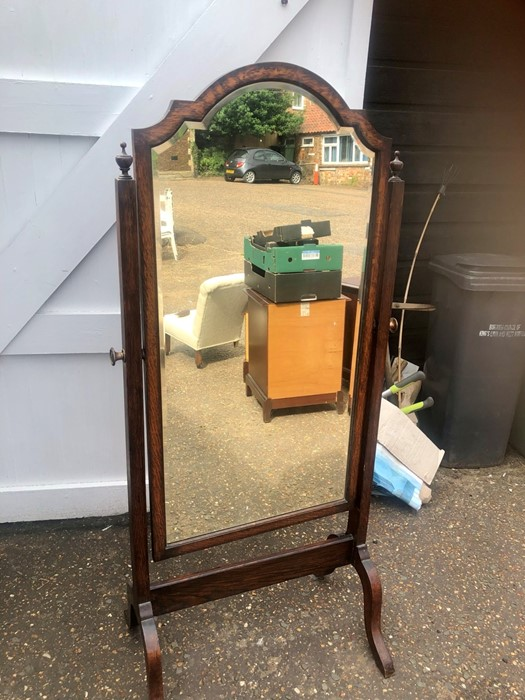 Antique Oak Chevalier Mirror 29 inches wide 65 inches tall measurements including stand