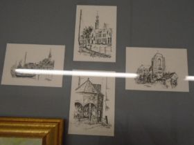 Jon Kosten Veere pencil sketches, signed oil on board of poppies and various prints