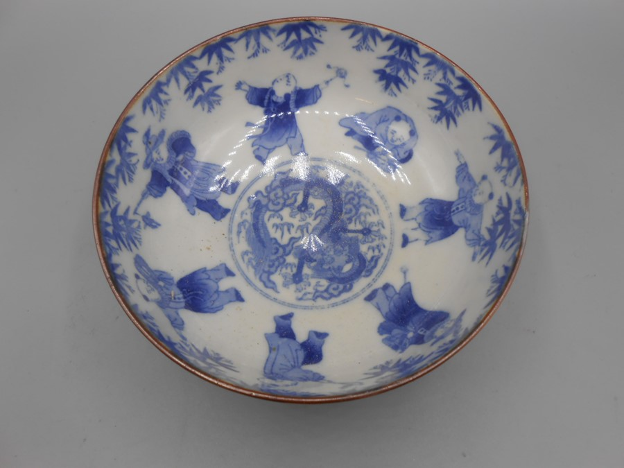 Blue and White Chinese Bowl 7 inches wide 3 tall no obvious damage small imperfection in glazing - Image 2 of 5