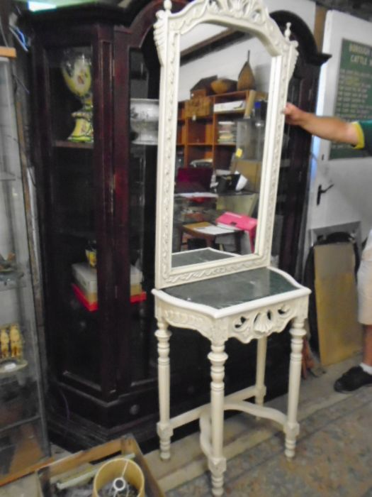 FRENCH SYLE DRESSING TABLE WITH MIRROR AND MARBLE TOP - Image 2 of 4