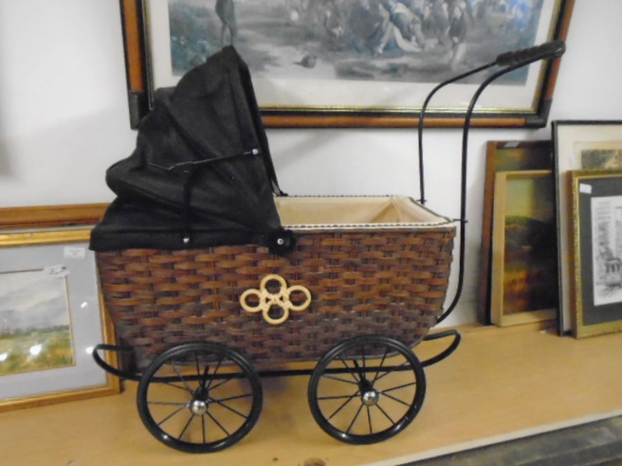 Antique style wicker dolls pram (German) NOT safe for children's use, has been used to display - Image 3 of 3