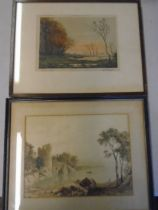 2 prints, one signed of boats on lakes