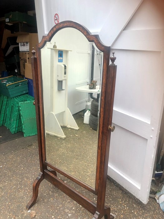 Antique Oak Chevalier Mirror 29 inches wide 65 inches tall measurements including stand - Image 2 of 4