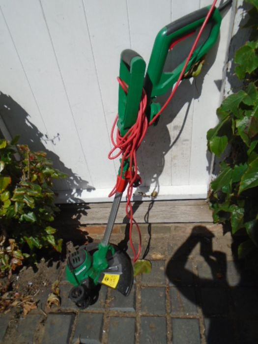 electric strimmer, 2 loppers, hanging basket