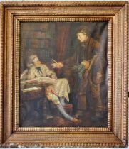 Large gilt framed oil on canvas 71cm x 81cm