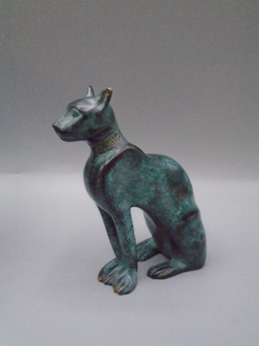 'Italica' green bronzed cat in original bag and box with leaflet 10cm tall