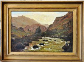 Reginald B Slinn, oil on canvas Highland landscape with artist depicted in the landscape in gilt