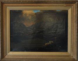 K Tate, oil on canvas highland landscape in gilt frame, 73 x 58 cm