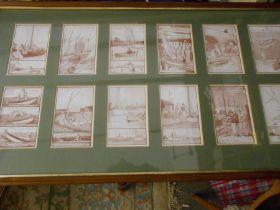 Set of 12 Framed ( Vintage 1922 ? ) Norfolk Broads / Sailing postcards Artist - E V Howell Set of