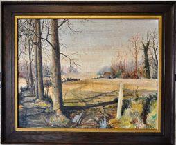 Oil on board landscape of an a winter scene unsigned framed 74 x 61cm