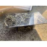Modern Rectangular Marble effect pedestal coffee table