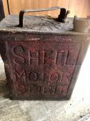 Vintage Shell Motor Spirit Can with brass Esso Cap